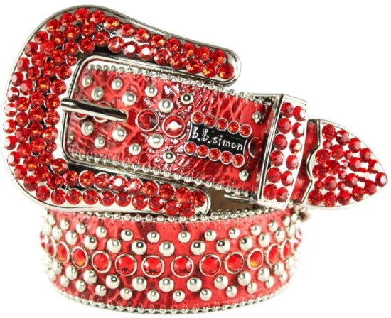 Bb Simon Red Snakeskin Embellished Belt