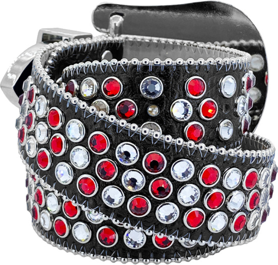 Bb Simons Black Belt With Red And White Crystals