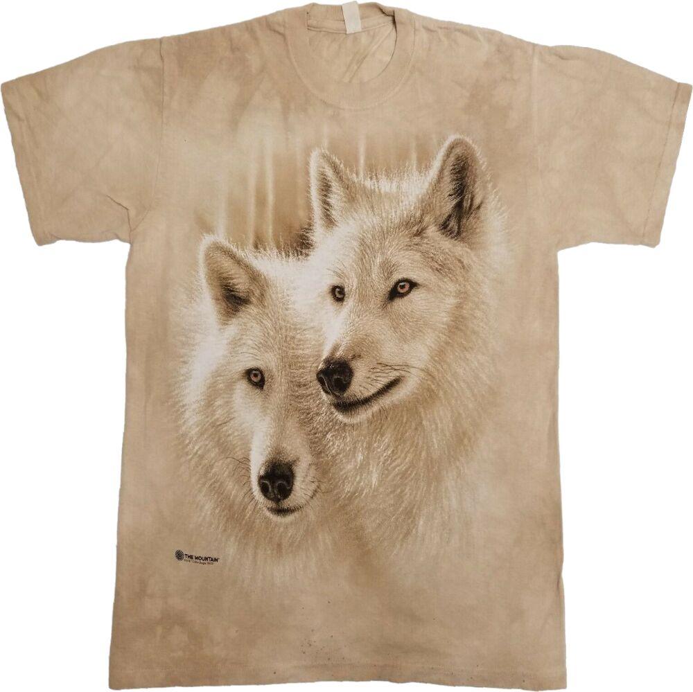 Beige Wolf Print T Shirt