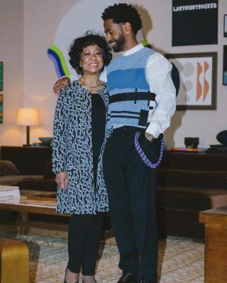 Big Sean Wearing A Blue Patchwork Knit Vest In His Instagram