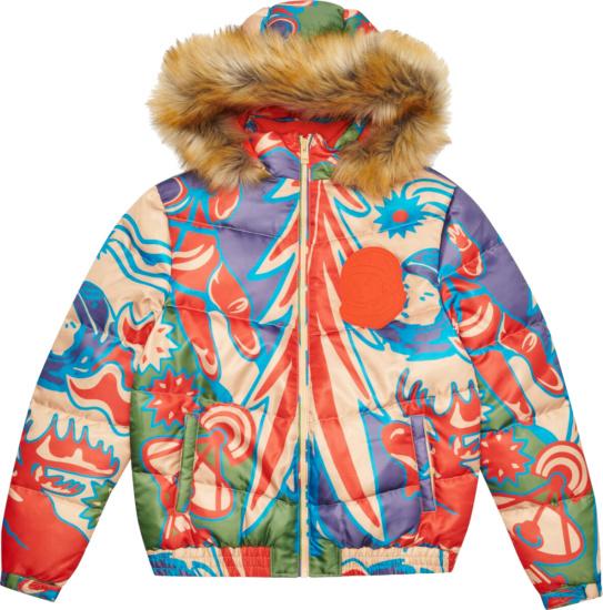 Billionaire Boys Blub Multicolor Print Denali Puffer Jacket