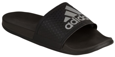 Black Adidas Slides With Grey Logo Print