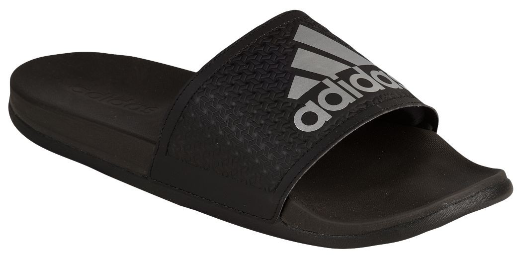 Black Adidas Slides With Grey Logo Print
