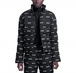 Black Allover Print Soltau Puffer Coat Worn By Lil Mosey In Burberry Headband Music Video