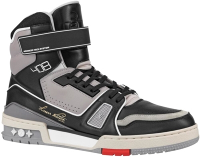 Black And Grey Louis Vuitton High Top Trainer Sneaker Boot
