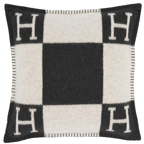 Black And White Check Hermes Throw Pillow