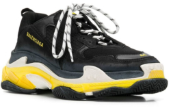 Black & Yellow 'Triple S' Sneakers