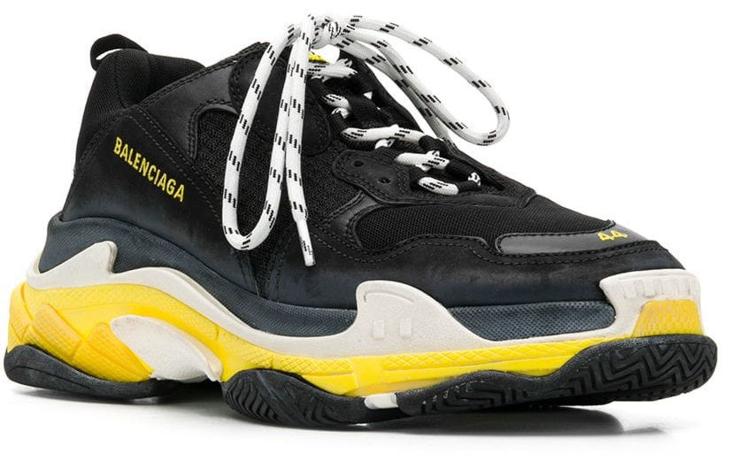 Black & Yellow Triple S Sneaker