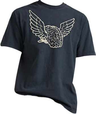 Black Brain Flying Print T Shirt