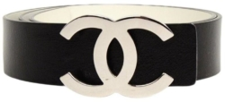 Black Chanel Cc Belt With Silver Tone Buckle