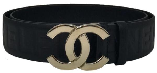 Black Chanel Pharrell Embosses Leather Belt