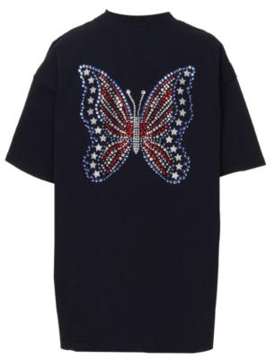 Black Designer American Flag Sequin Butterfly T Shirt