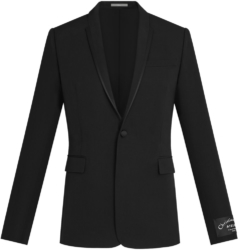 Black Dior Single Button Jacket With Silk Trim Lapel Worn By Offset