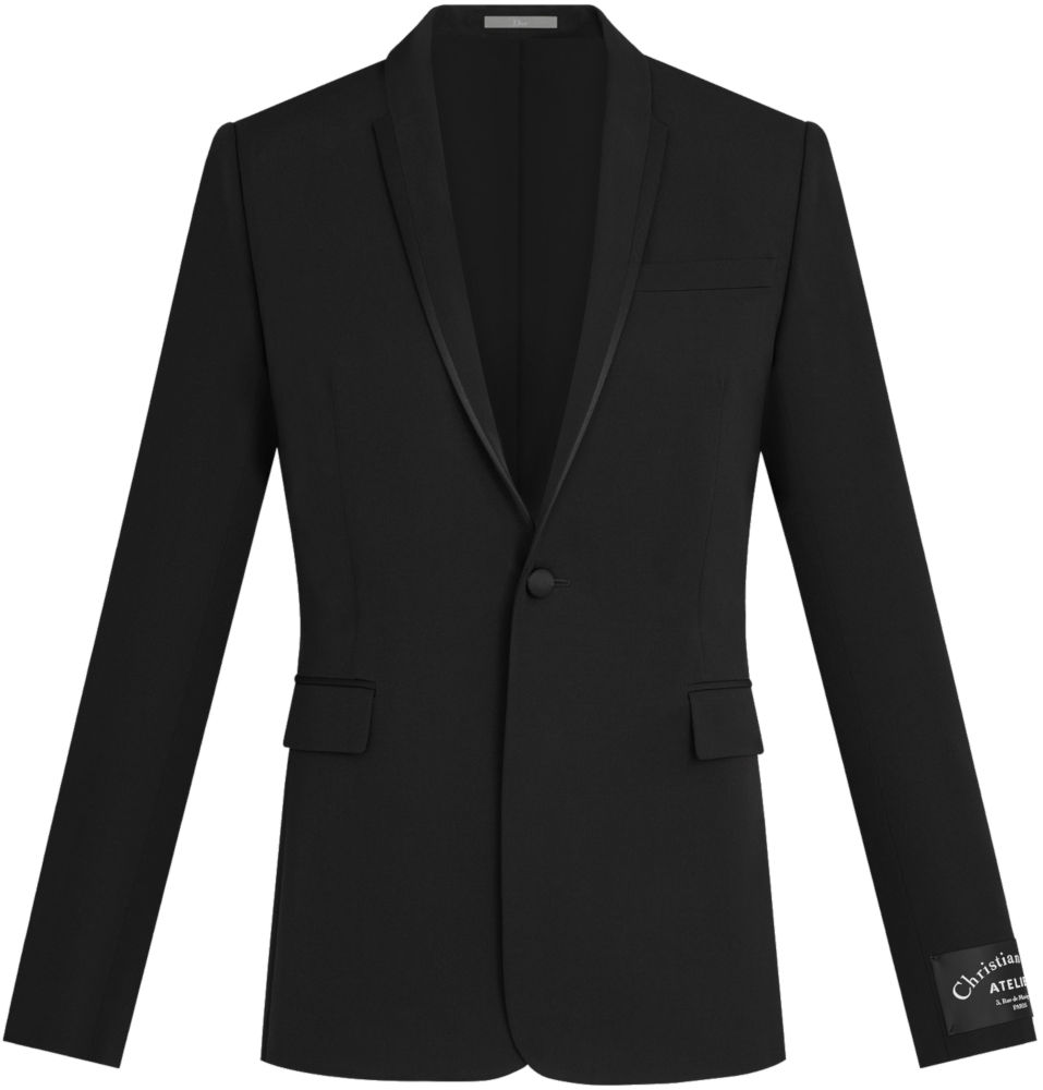 Black Dior Single Button Jacket With Silk Trim Lapel Worn By Offset