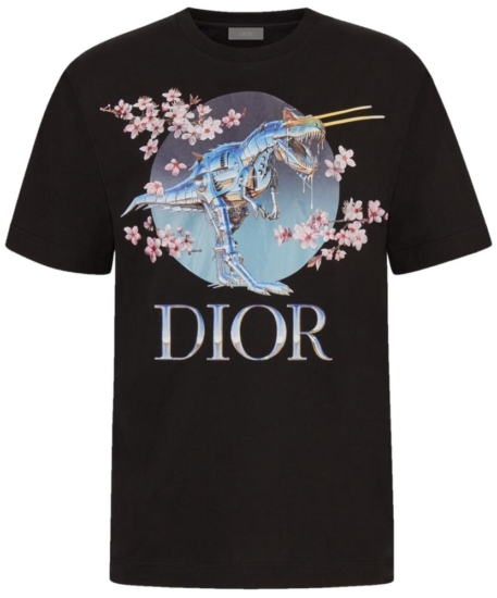 Black Dior X Sorayama Shirt With Floral And Metallic Dinosaur Print