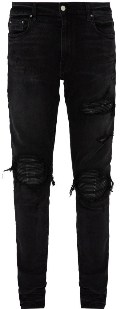 Black Distresses Amiri Skinny Jeans With Leather Underpatches Worn By A Boogie