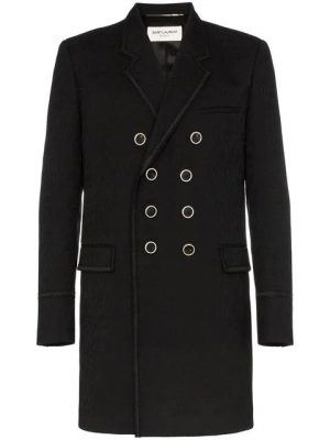 Black Double Breasted Saint Laurent Coat Wore By G Eazy