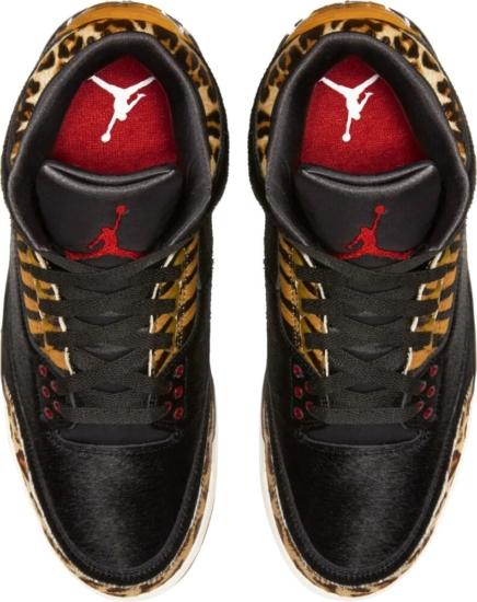 Black Fur And Animal Print Jordans