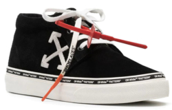 Black High Top Off White Sneakers With White Arrow Logo