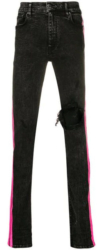 Black Jeans With Neon Pink Side Stripe Worn By A Boogie