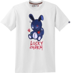 Denim Patchwork Bunny White T-Shirt