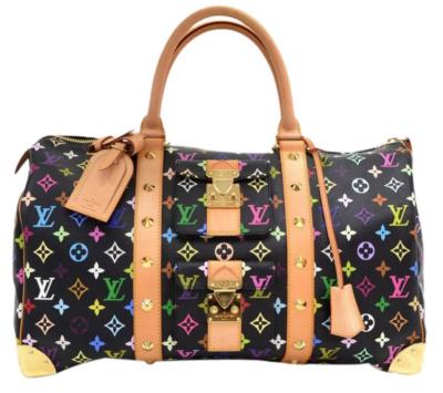Black Louis Vuitton Duffle Bag With Multicolor Rainbow Monogram Motif Print
