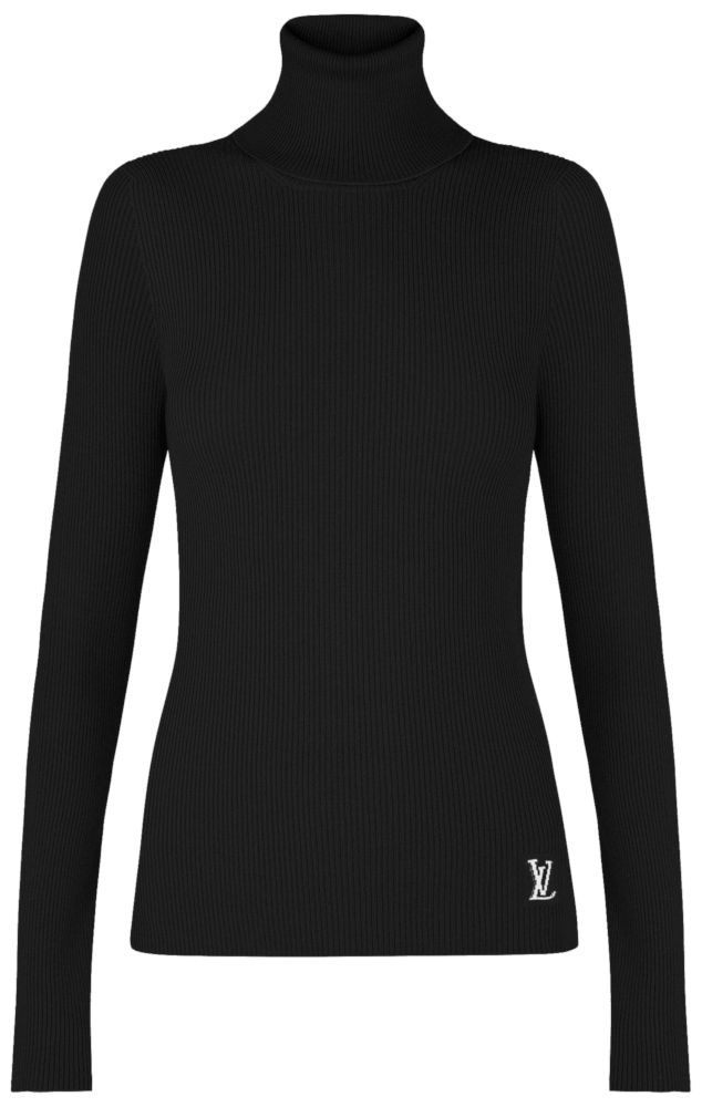 Black Louis Vuitton Thin Ribs Turtleneck Sweater Worn By Lil Baby