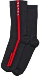 Black Prada Socks With Red Logo Stripe