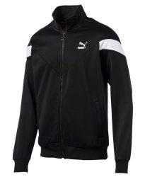 Black Puma Mcs Jacket With Diagonal White Sleeve Stripes
