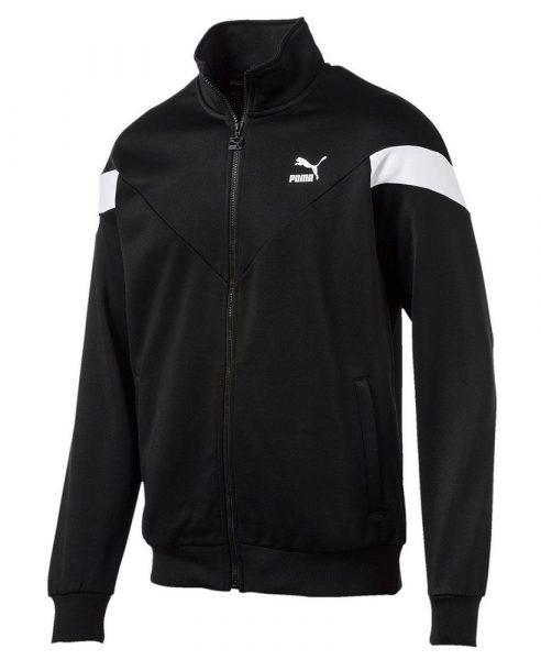 Black Puma Mcs Jacket With Diagonal White Sleeve Stripes