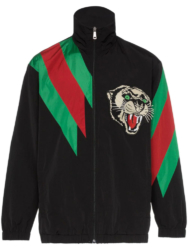 Black With Green And Red Stripe Panther Patch Gucci Track Jacket Worn By Preme