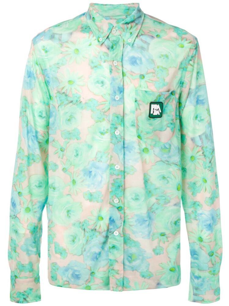 Blue And Green Printed Prada Floral Shirt