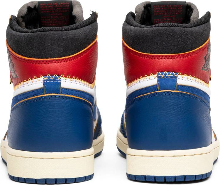 Blue And White High Top Nike With Red Leather Around Ankles
