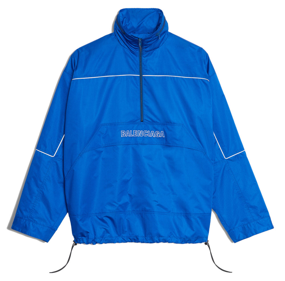 Blue Balenciaga Windbreaker With White Piping And White Emboirdered Logo