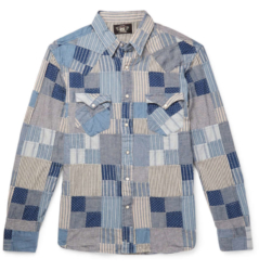 Blue Patchwork Shirt Worn By Tyga In His Goddamn Music Video