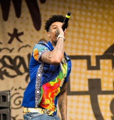 Blueface Performing At Hot97 Summer Jam In A Blue Versace Shirt And Belt And Alexander Mcqueen Blue Gradient Sneakers1