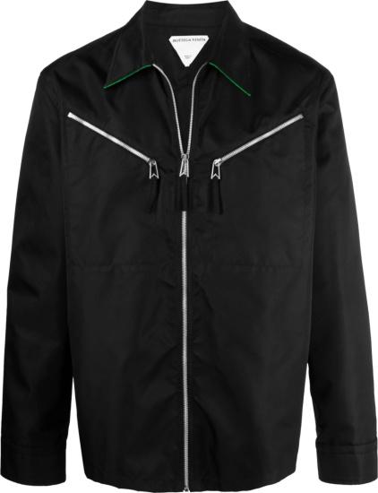 Bottega Veneta Black And Green Trim Zip Pocket Jacket