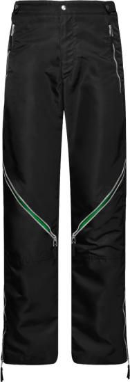 Bottega Veneta Black And Green Trim Zip Pocket Pants