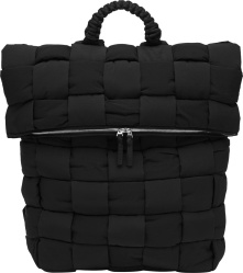 Bottega Veneta Black Quilted Woven Backpack