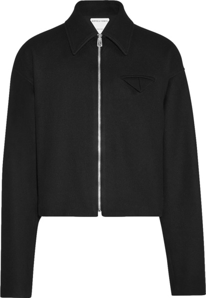 Bottega Veneta Black Wool Triange Pocket Cropped Jacket