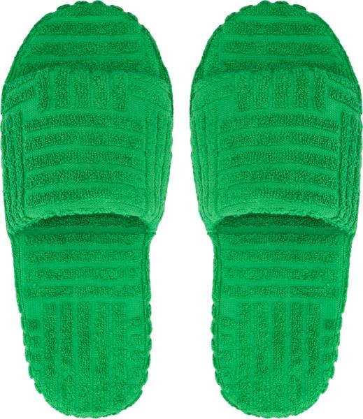 Bottega Veneta Green Intrecciato Terry Cotton Slides