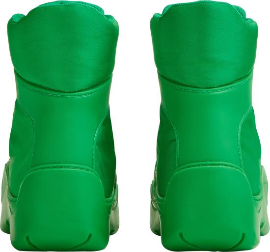 Bottega Veneta Green Nylon Combat Style Boots