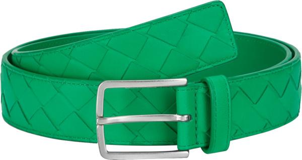 Bottega Veneta Green Woven Leather Belt