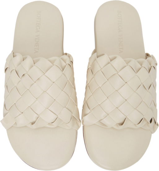 Bottega Veneta Intrecciato Slides In White