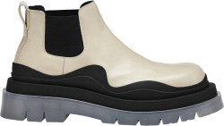 Bottega Veneta Ivory And Clear Sole Short Chelsea Boots