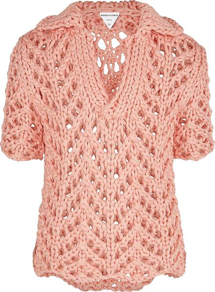 Bottega Veneta Pink Cable Knit Sweater Polo