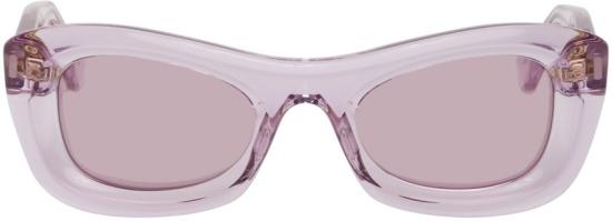 Bottega Veneta Purple Clear Square Animation Sunglasses