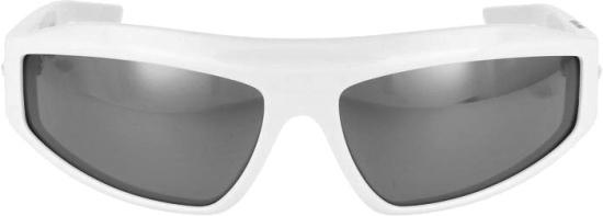 Bottega Veneta White Wrap Mirrored Sunglasses