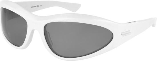 Bottega Veneta White Wraparound Sport Sunglasses