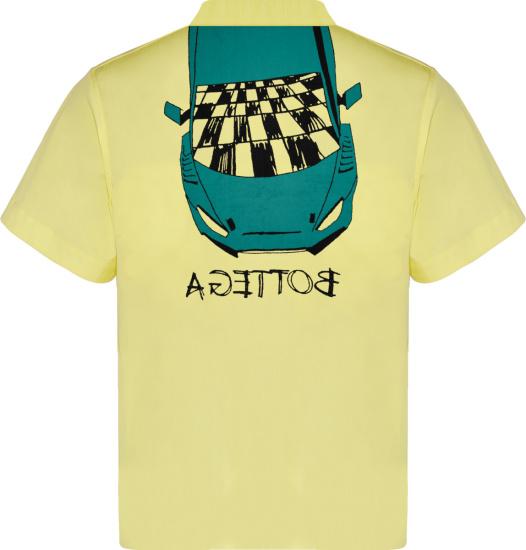 Bottega Veneta Yellow Car Print Padded Shirt